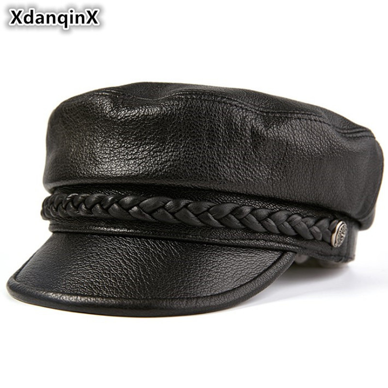 XdanqinX Genuine Leather Hat Elegant Women's Army Military Hats Autumn Men's Flat Cap Sheepskin Leather Black Brand Snapback Cap