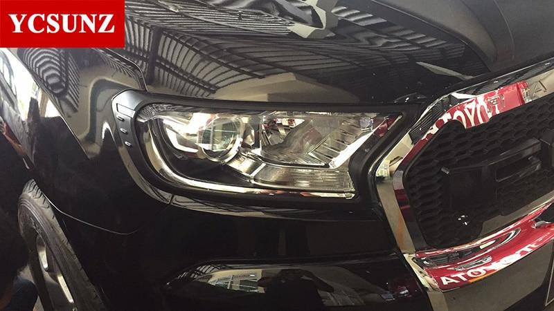 Svarta strålkastare Surrounds Cover Trim För Ford Ranger Wildtrak - Reservdelar och bildelar - Foto 3