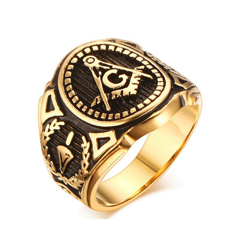 steampunk ring men masonic rings vintage stainless steel wedding ring for men retro stainless steel jewelry - Steampunk Wedding Rings