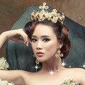 Barroco europeo novia de lujo corona de la reina de la boda rhinestone nupcial tiara diadema accesorios para el cabello partido