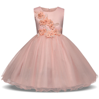Flower Appliqued Girls Princess Dress For Kids Party Wedding Pink And White Color Children Sleeveless Prom