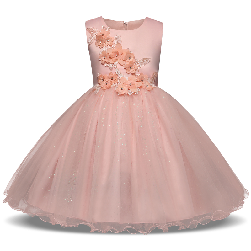 Flower Appliqued Girls Princess Dress for Kids Party Wedding Pink and White Color Children Sleeveless Prom Costume for 3-8 kids