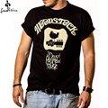Camisa de manga curta camisa ocasional dos homens de Música de Woodstock T-Shirt para homens T-Shirt dos homens negros da Moda