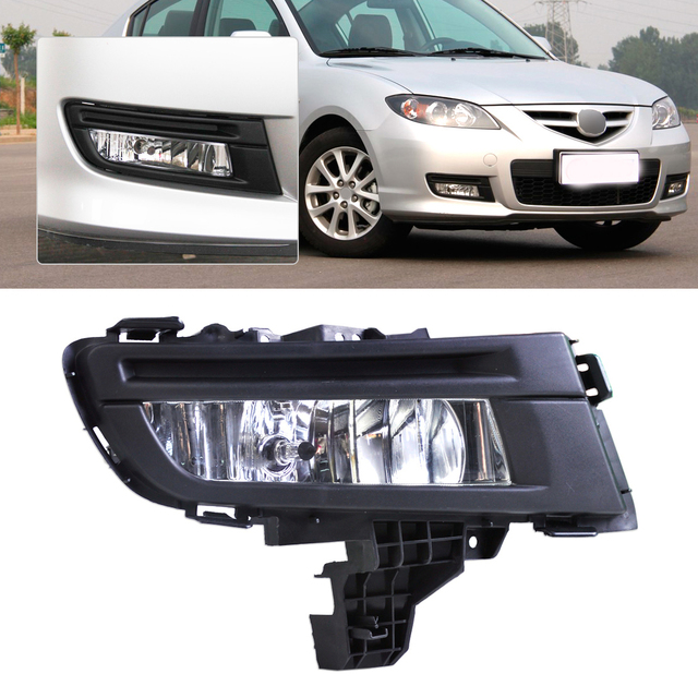Citall Front Right Fog Light Lamp Replacement Kit 9006 12v 51w For Mazda 3 2007 2008 2009 Abs Plastic Clear Lens Finish
