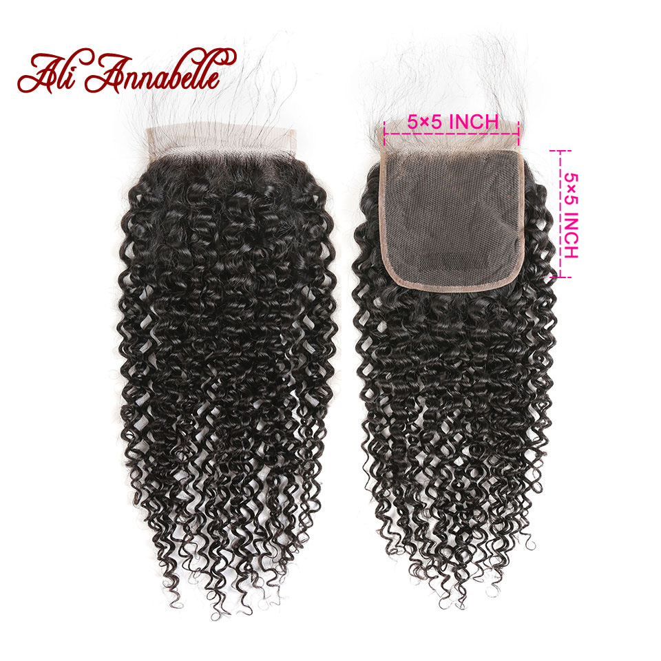 ALI ANNABELLE HAIR Brazilian Kinky Curly Human Hair Lace Closure 5 5 Swiss Lace 10 20