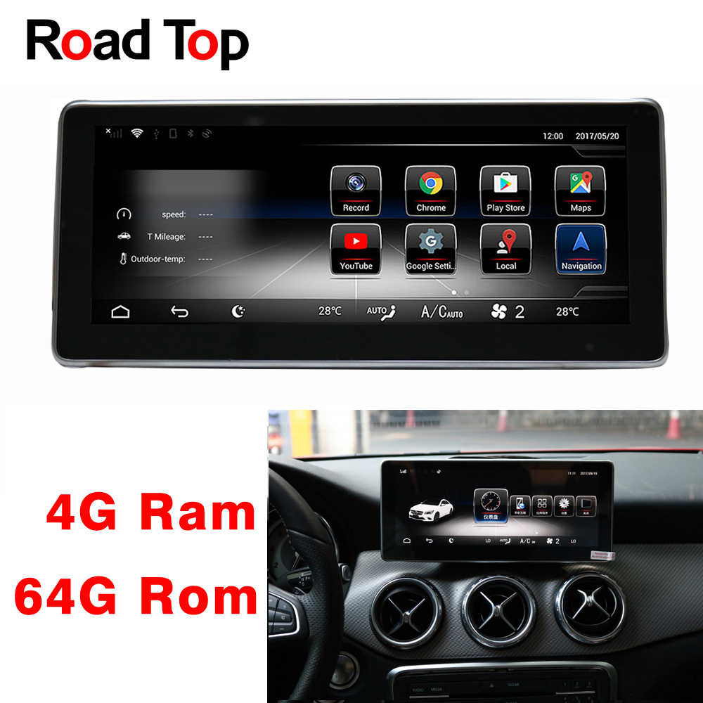 10.25 Android 8.1 Octa 8-Core CPU 4+64G Car Radio WiFi GPS Navigation Bluetooth Head Unit Screen for Mercedes Benz A Class W176