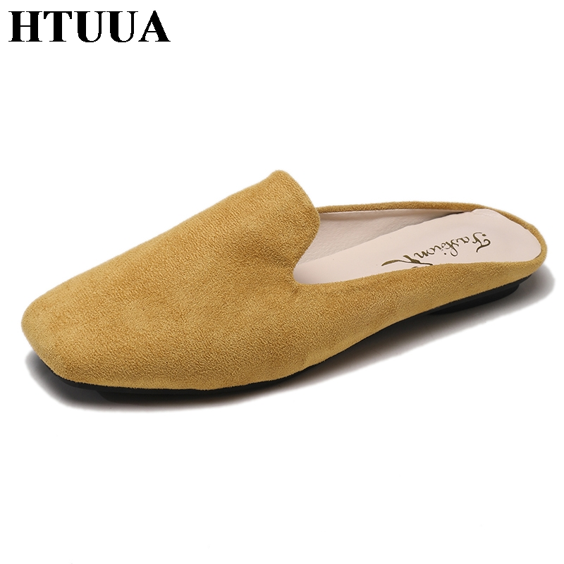 8c2031a74f349a HTUUA 2019 New Women Slippers Slip On Flat Mules Shoes Outside Casual Flip  Flop Summer Sandals