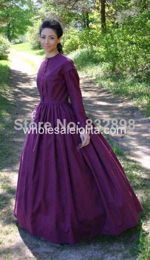 2014 Top Fasion vente Natural Satin - parole longueur robe de bal o - cou complet aucune régulier coton guerre civile Styled robe / robe de scène