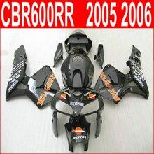 100%, пригодный для Honda литьем под давлением обтекатель комплект для CBR600RR 2005 2006 матовый черный обтекатели комплект CBR 600RR 05 06 79EN