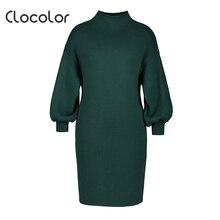 Clocolor Для женщин Винтаж платье Hunter Свободные длинным рукавом Трикотажный пуловер до середины икры 2018 г. осенние модные женские туфли платье
