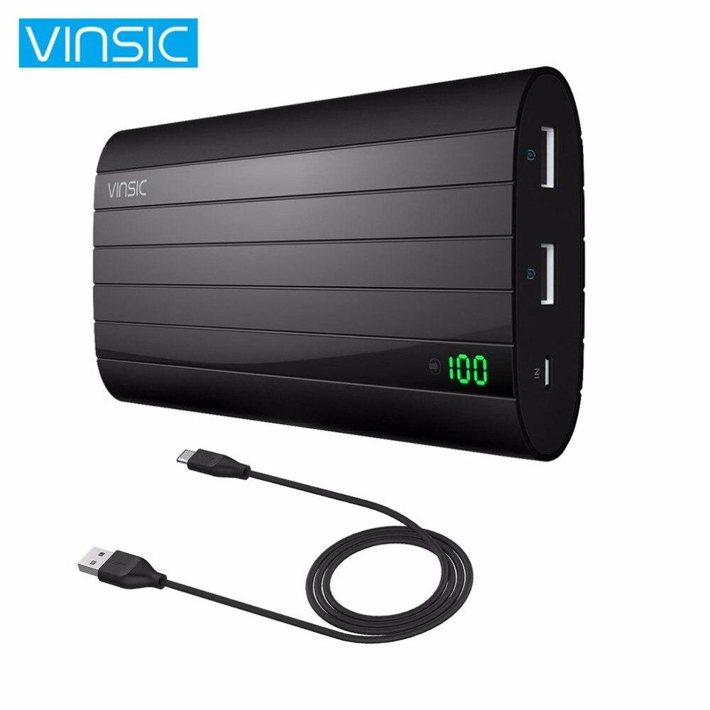 Vinsic внешний Мощность Bank 20000 мАч Портативный мобильный Мощность банк с Dual USB Порты и разъёмы для Android Мобильные телефоны