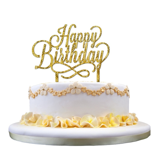 Happy Birthday Sweet 16 Gold Monogram Cake Topper Letter 16th Party Themes Decoration Anniversary Suppliers