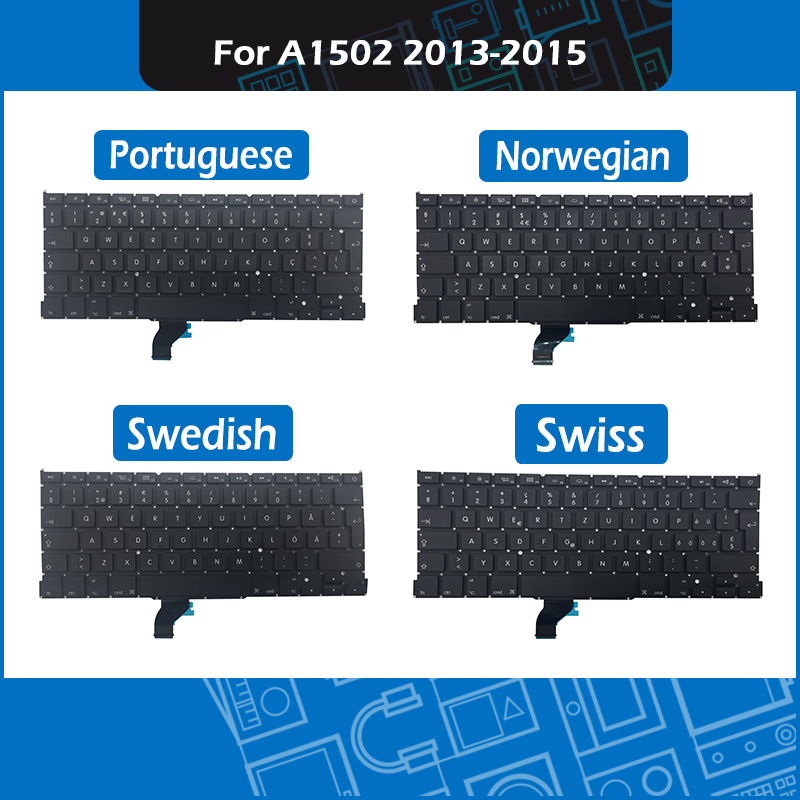 A1502 Replacement keyboard Norwegian Swedish Swiss Portuguese Layout For font b Macbook b font Pro 13