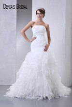 Actual Images Strapless Ruffles Mermaid Wedding Dresses Pleats Floor-Length Chapel Train Long Bridal Gowns