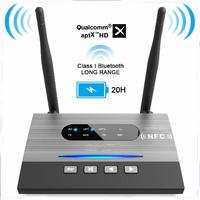 NFC 262ft/80m Long Range Bluetooth 5.0 Transmitter Receiver 3in1 Music Audio Adapter Low Latency aptX HD Spdif RCA AUX 3.5mm d20