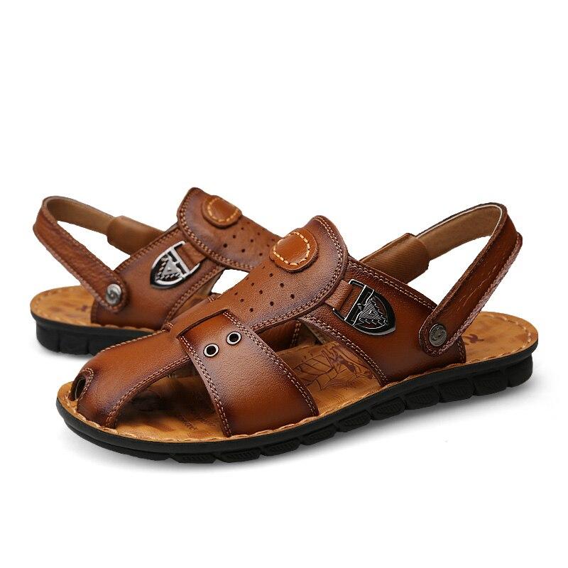 En Non Chaussures Double Hommes glissement De Noir À Brown yellow Respirant Usage Été Cuir Bout Sandales qfrzA5xq