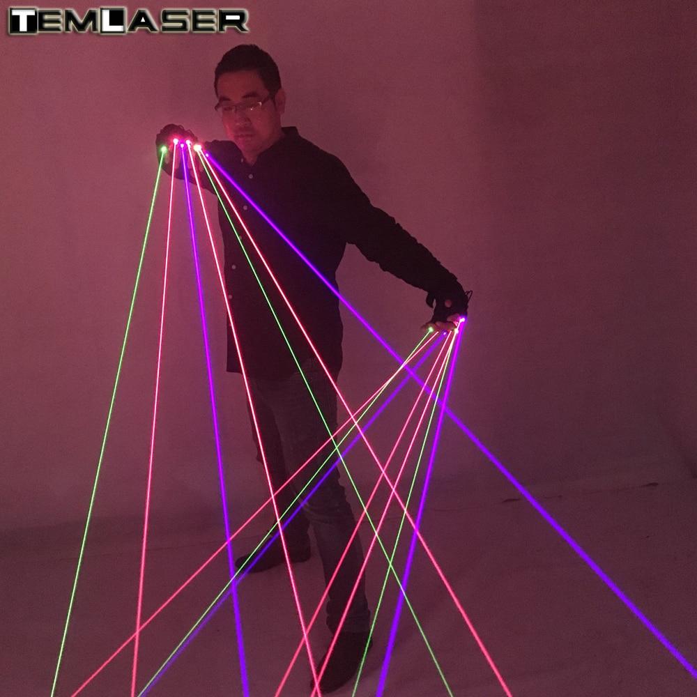 Baru tiba RGB Laser Sarung Tangan Dengan 7 pcs Laser 2 pcs Hijau + 3 PCS Merah + 2 PCS Violet Biru Sarung Tangan Tahap untuk DJ Club Party Show
