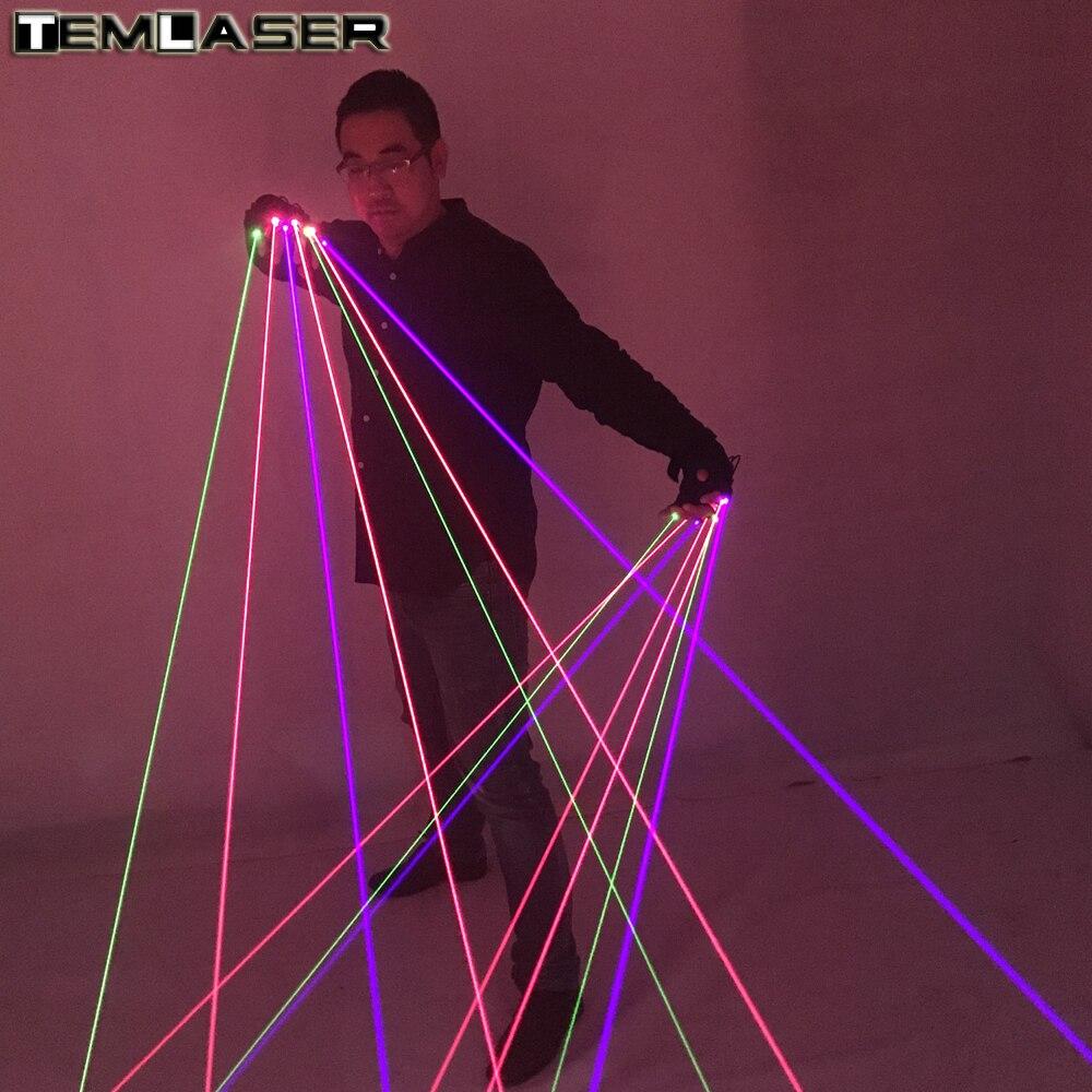 Nouveau arrivé RVB Laser Gants Avec 7 pcs Laser 2 pcs Vert + 3 PCS rouge + 2 PCS Violet Bleu Gants Scène pour DJ Club Party Afficher