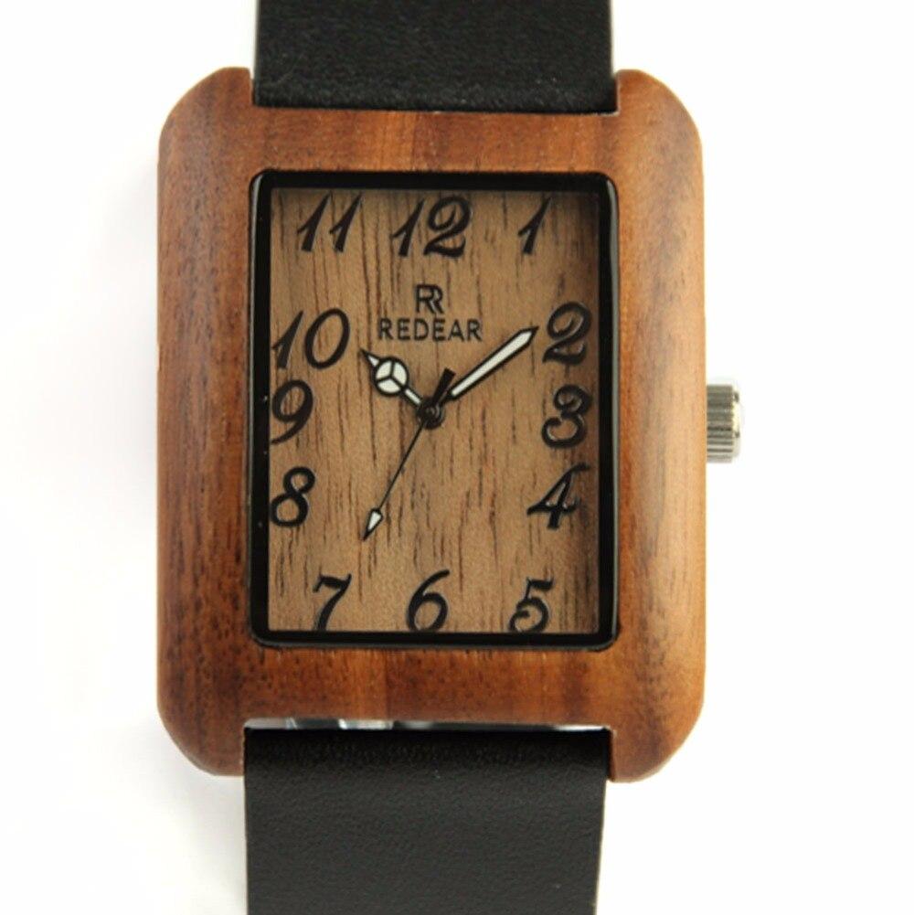 ФОТО New Men's Quartz Watch Top Brand Luxury Wrist Watch Genuine Leather Wooden Watches Genuine Black Leather Strap Japan Movement