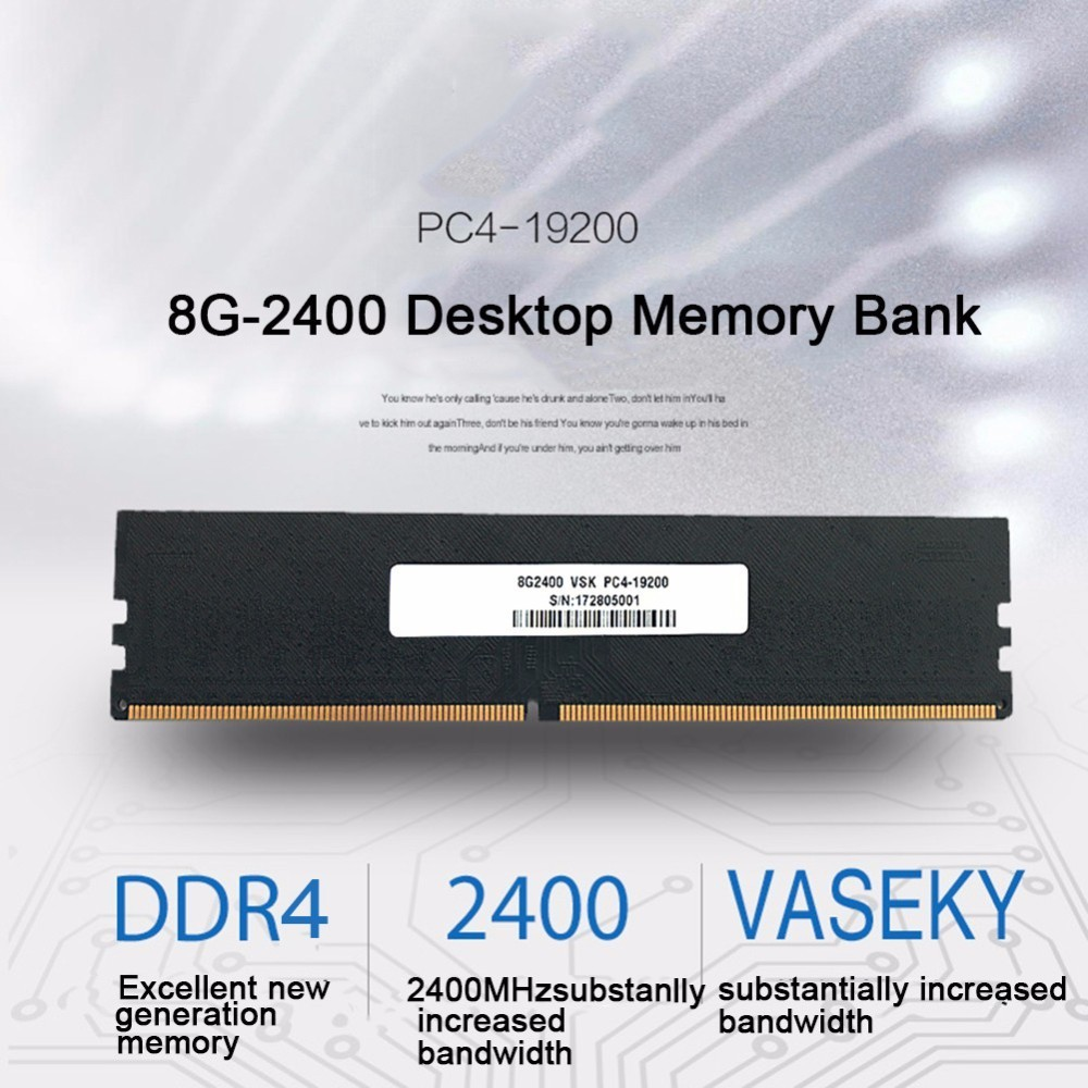 Vaseky DDR4 Fourth Motherboard 8G Memory Capacity 2400HMz Desktop Memory Bank For High Running Increase & Transmission Speed asus m4a78 vm desktop motherboard 780g socket am2 ddr2 sata2 usb2 0 uatx second hand high quality