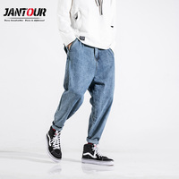 2019 Spring summer loose casual blue men's jeans trend Harlan pants men beam foot Hip hop Overalls stretch pant plus size 28 42