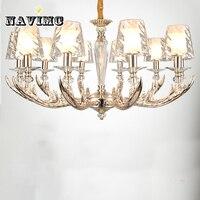 Современный рога люстра освещение с акриловый абажур для гостиная спальня обеденная лампа рог оленя подвесной светильник