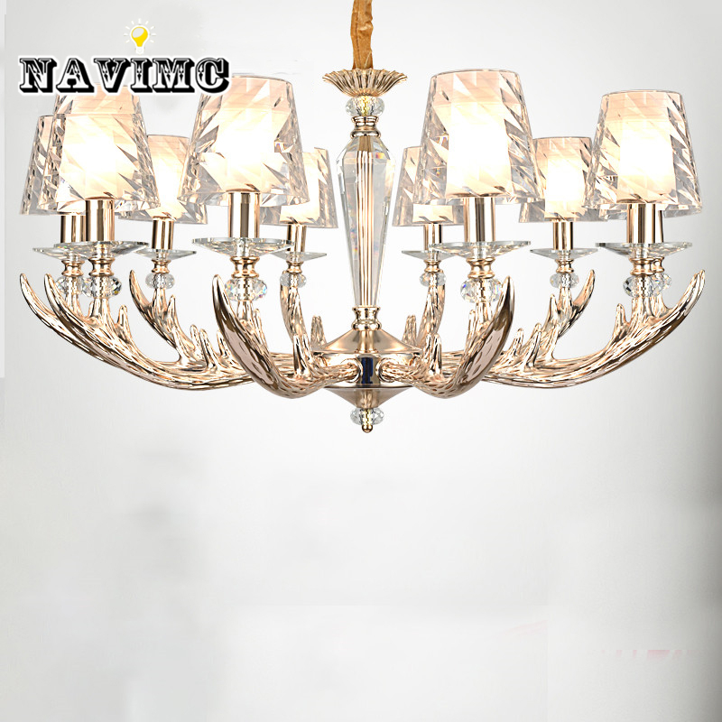 Modern Antler Chandelier Lighting with Acrylic Lampshade for Living Room Bedroom Dining Room Lamp Deer Horn Hanging Lamp
