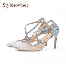 Stylesowner 2018 Newest Wedding Shoe Silver Cross Belt Bling Glitter Stiletto Pumps Rhinestone Mesh Transparent Sandal