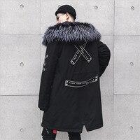 High Quality 2019 Winter Men Thick Long Jacket Men Casual Loose Cool Parkas Big Pocket Fur Collar Hooded Winter Jacket Coat
