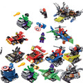 12 pçs/lote comic super heróis bumper car building block bricks diy brinquedos mini modelo batman flash colorido compatível ilegoeing.003