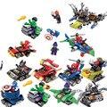 12 unids/lote comic super heroes parachoques coche de bloques de construcción de ladrillos diy juguetes mini modelo batman flash colorido compatible ilegoeing.003