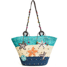 Summer Bali Hand-woven New Bohemian hand embroidered starfish straw with beaded bag woven big