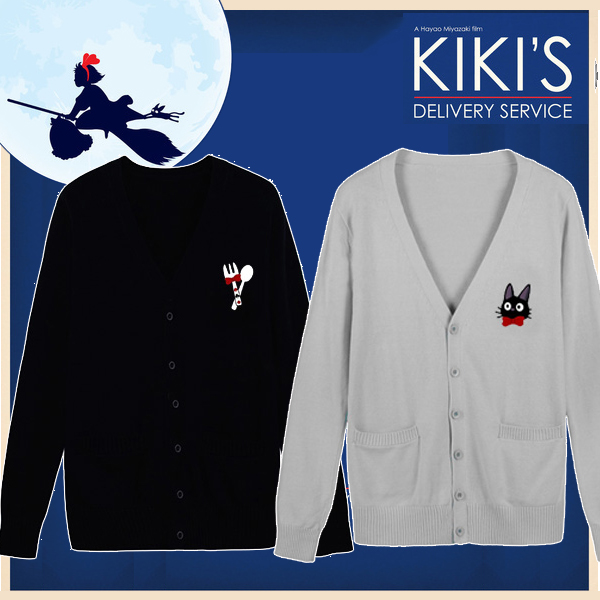 Cute Anime Kiki s Delivery Service Embroidery Japanese JK Uniform Sailor  Sweater Long Sleeve Cardigan Cosplay Thick Winter 7aafe10955