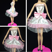 Pink Lace Bowknot Off Shoulder Short Dress for Barbie Doll House Vestidos Evening Dresses for 1