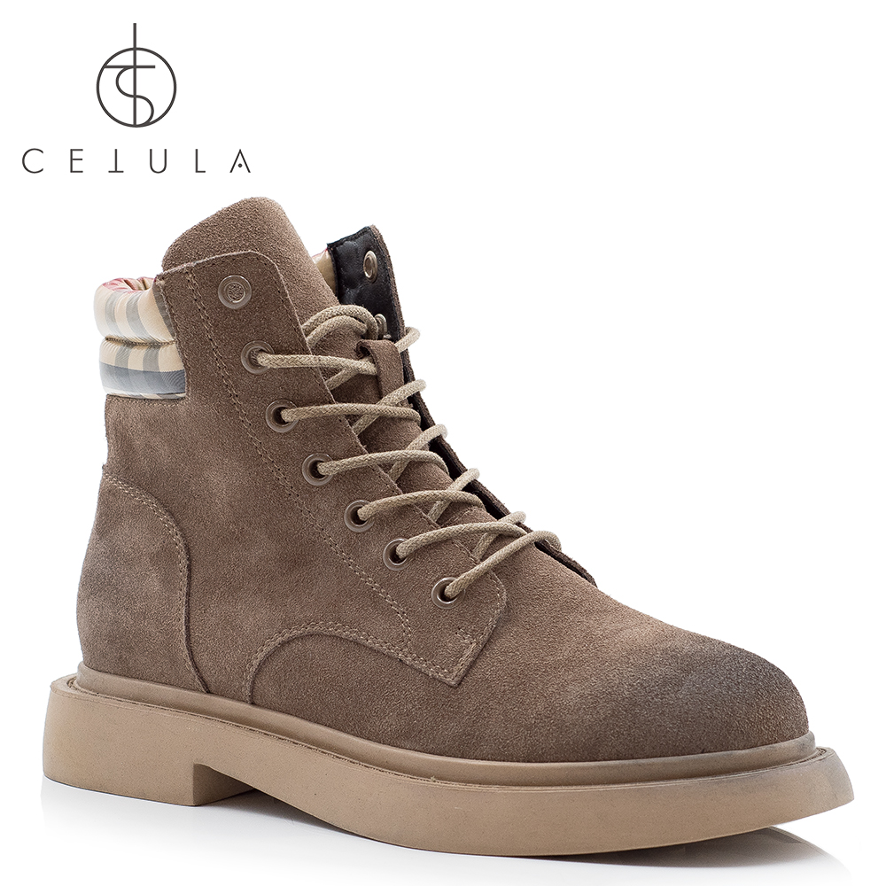 @Cetula 2018 Handcrafted ft.Padded Plaid Collar Lace-up Smooth Suede Female Ankle Boots ft.Stitching Outsole&Brushed Toe цена 2017