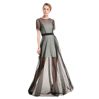 TFGS Original Design Women Sexy Black Lace Dot Long Dress Floor Length Empire Casual Bohemian Dress