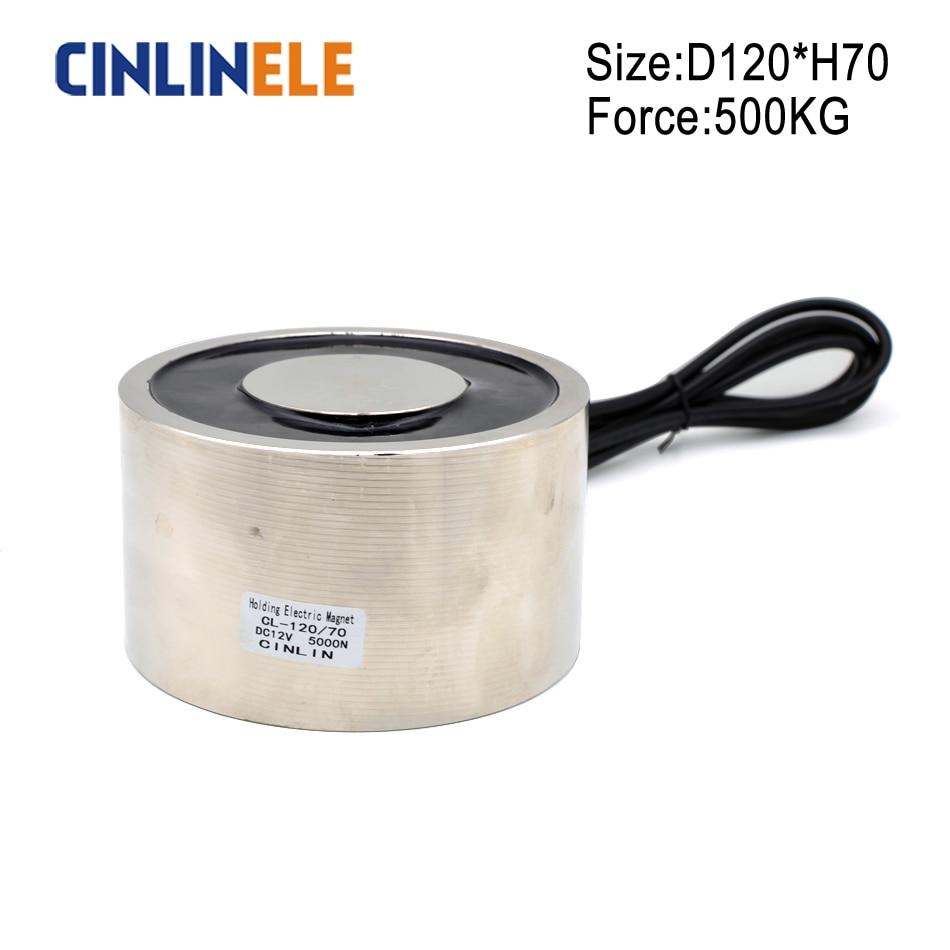 D120mm*70mm 500KG/5000N Holding Electric Magnet Lifting Solenoid Sucker Electromagnet DC 6V 12V 24V