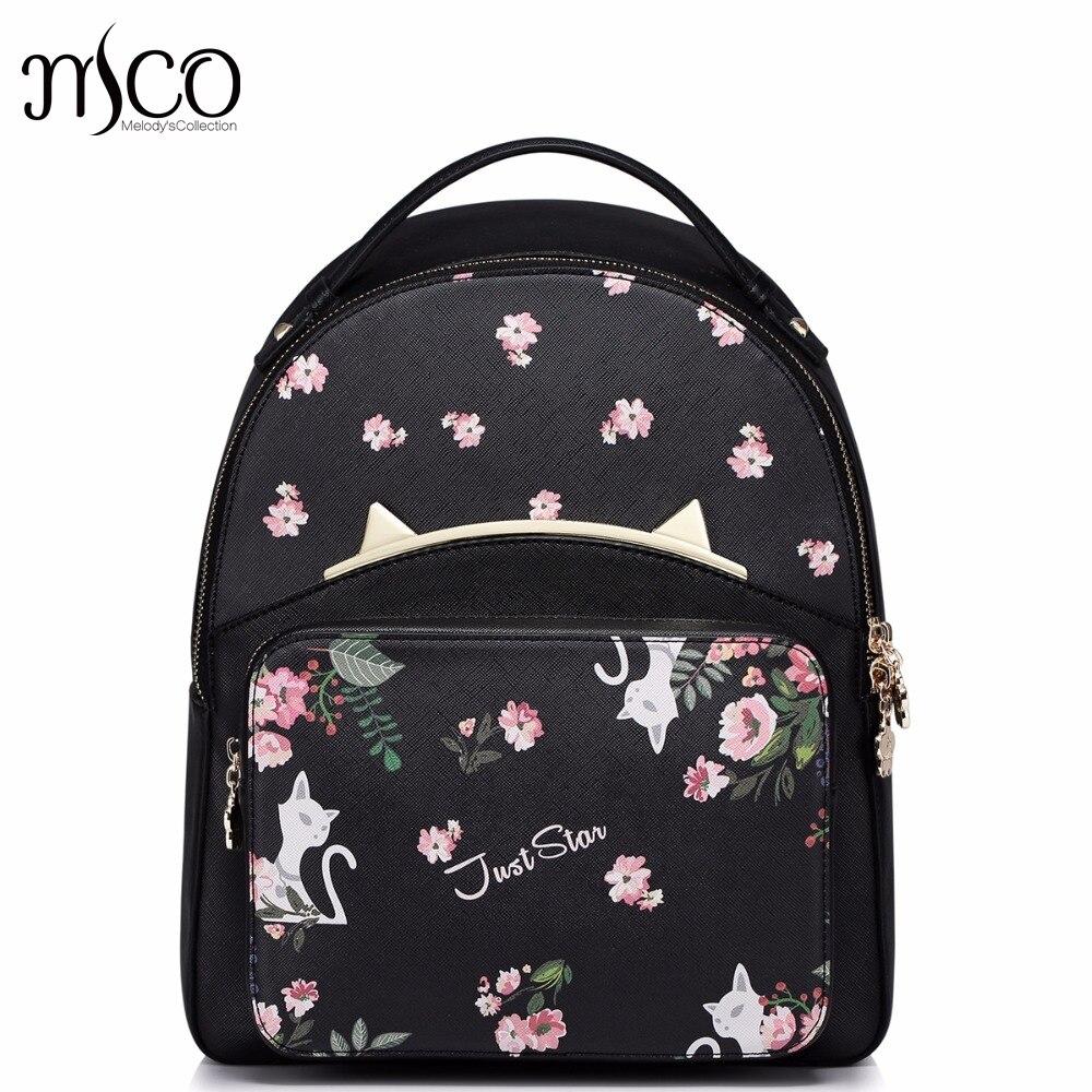 Brand Design Cat Ears Flowers Printing PU Women Leather Ladies Girl Backpack Shoulders School Travel Bags Student Daypack