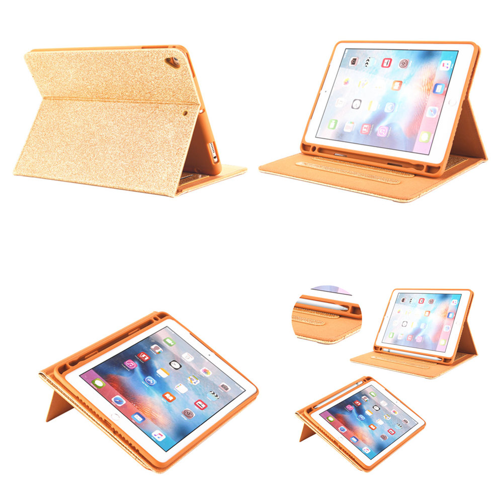 Shimmering PU Case For IPad 9.7 2017 A1822 PU Leather Smart Cover Folio with Pencil Holder for IPad 9.7 Inch 2018  A1893 Air 1 2