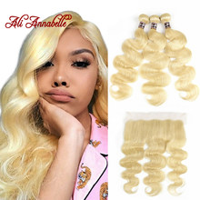 Mongolian Body Wave Bundles With Frontal Human Hair Bundles With Closure Blonde 613 Lace Frontal Closure With 3 Bundles Weave(China)