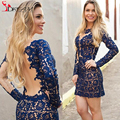 Dark Blue Lace Crew Long Sleeve Sheer Illusion Back Short Sexy Cocktail Dresses Sheath Homecoming Party Gowns 2016 Cheap