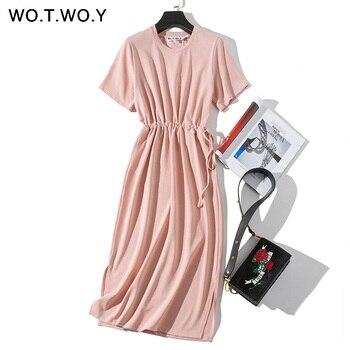 WOTWOY длинное платье-футболка женское летнее платье с поясом и разрезом на талии Повседневное платье с круглым вырезом и коротким рукавом сво...
