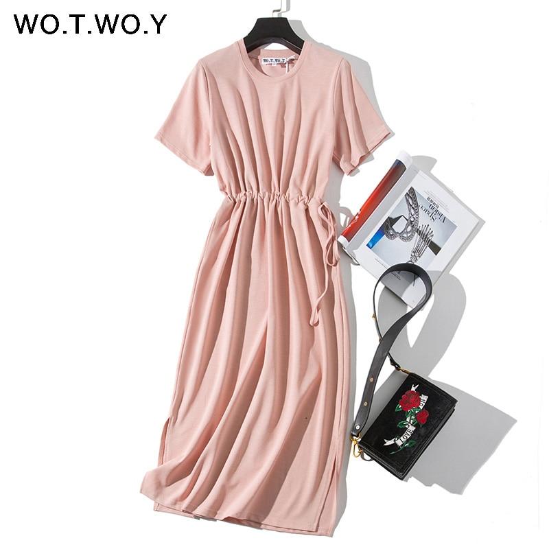 WOTWOY Long T-shirt Dresses Women Summer Sashes Waist Slit Casual O-Neck Short Sleeve Loose Ankle-Length Dress Woman Pink Cotton