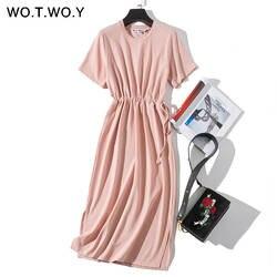 WOTWOY длинная футболка Платья женские летние ремни Талия щелевая повседневная с круглым вырезом короткий рукав свободное платье до