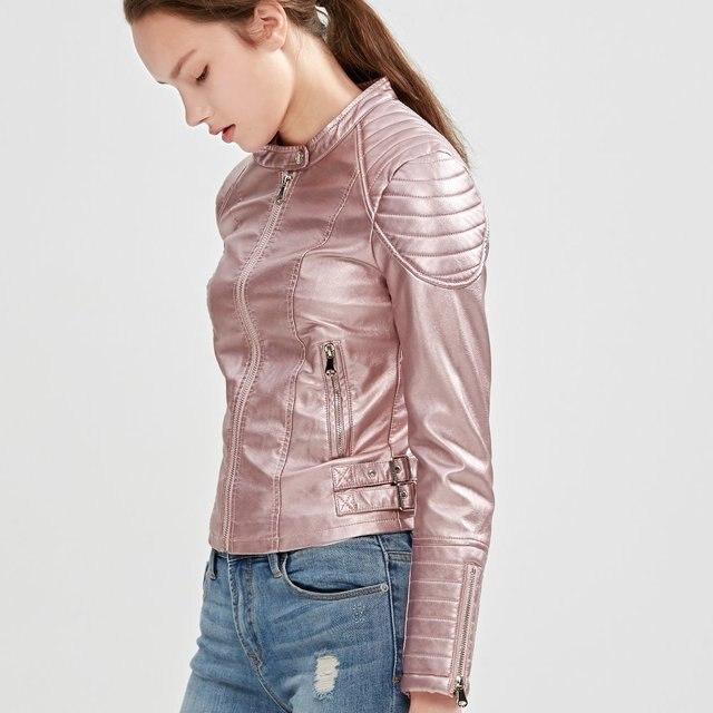 f37703690 Moda Feminina Elegante de Couro Com Zíper Falso Jaqueta Biker Rosa Marrom  Preto Fino Revestimento Das