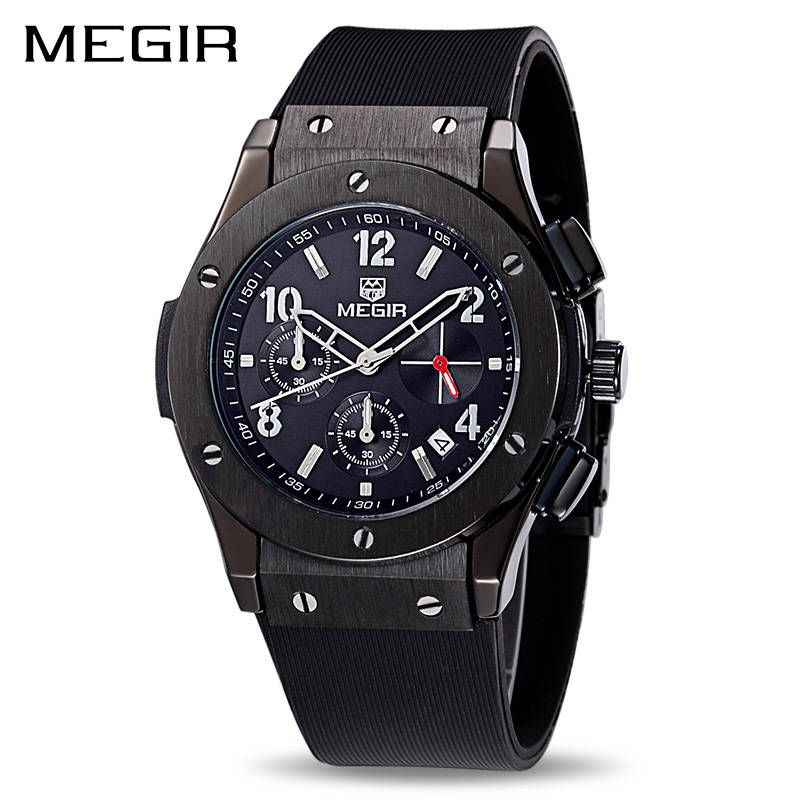MEGIR Men Sport Watch Big Dial Silicone Army Military Watches Clock Men Chronograph Quartz Wristwatches Relogio Masculino 3002 gift hot crazy selling army leather belt table trend of retro fashion blue big dial quartz watch clock men military sport watch