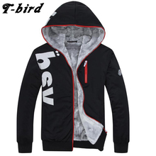 T-Bird 2017 Warm Velvet Hoodies Brand Men Letter Printing Men'S Sportswear Hoody Hip Hop High Fashion Autumn Winter Hoodie 6XL