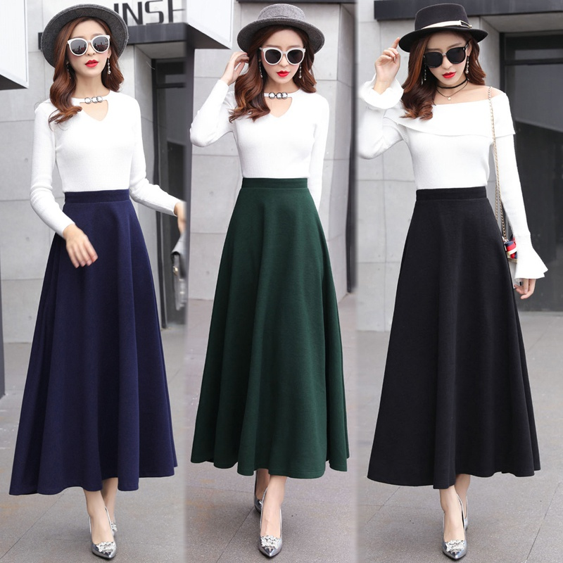 Image 5 - High Waist Woolen Skirts Womens Winter 2018 Fashion Streewear Wool Long Pleated Skirt With Belt Casual Ladies Saia Longa Black-in Skirts from Women's Clothing