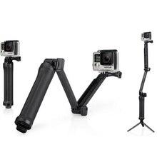 GoPro 3 Way монопод кронштейн Регулируемая Подставка Кронштейн Ручной ручка Штатив для Go Pro Hero5 4/3 + 3 2 SJ4000 камеры Аксессуары