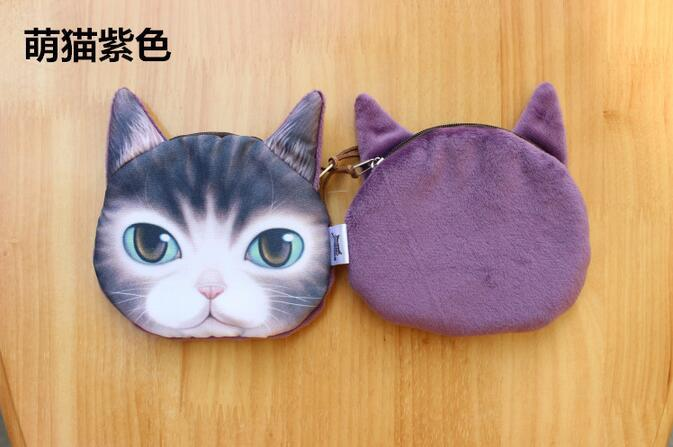 new arrivel 3D animal print bags cute kitty pussy cat head printedbag for women small message shoulder bad purse